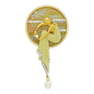 Masriera Gold, Plique-à-Jour Enamel, Diamond and Cultured Pearl Pendant-Brooch
