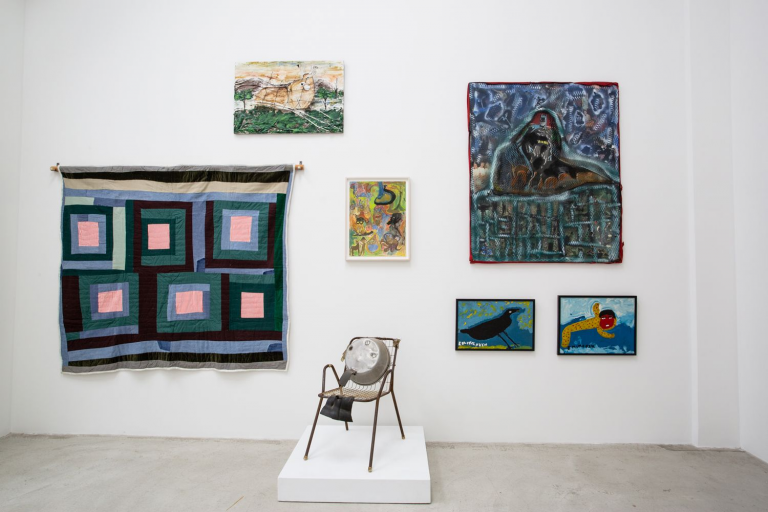 """View of the """"Keep Your Lamps Trimmed and Burning"""" show at Shin Gallery for the Outsider Art Fair. Photo by Olya Vysotskaya."""