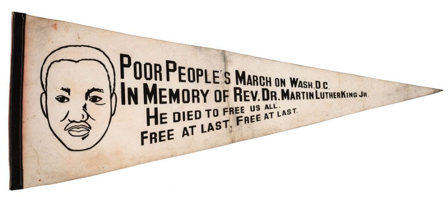 Pennant from the Poor People's March on Washington, D.C. Image courtesy of Cowan's Auctions.
