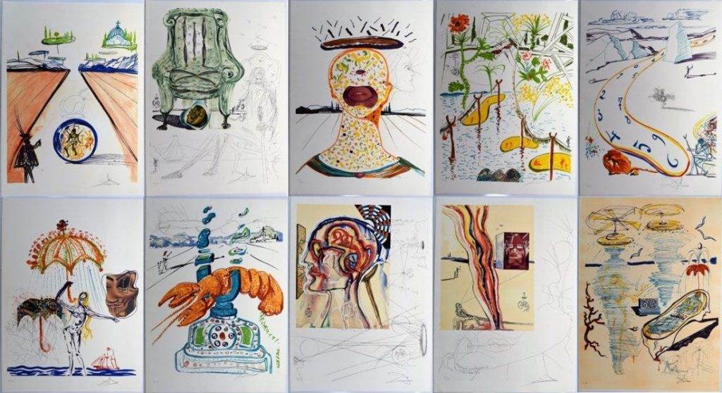 Rare suite of ten original mixed media impressions by Salvador Dali (1904-1989), titled Imaginations and Objects of the Future (#60 of 250), signed by Dali (est. $12,500-$22,500).