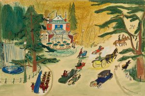 "Ludwig Bemelmans Illustration for 'Madeline and the Bad Hat' (""Pepito carried a bulging sack"")"