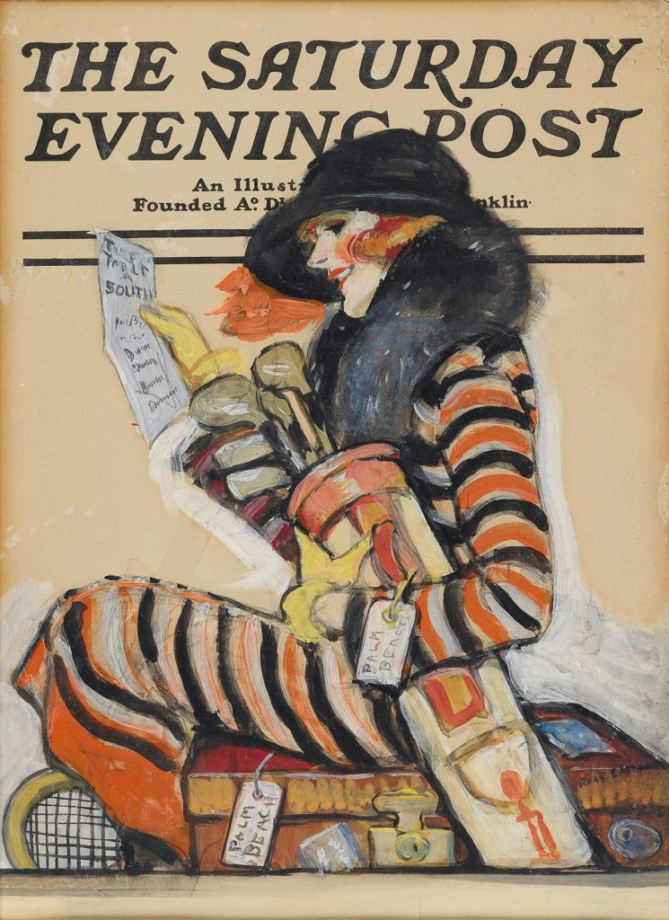 Ruth Eastman, Hitting the Links of Palm Beach, proposed cover for The Saturday Evening Post, gouache, circa mid-1920s. Sold for $11,875, a record for the artist.