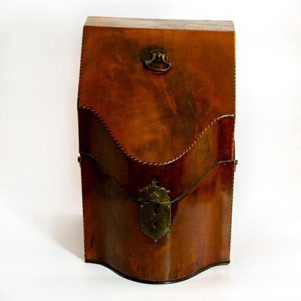 LOT NO. 1100 GEORGE III MAHOGANY INLAID SERPENTINE CUTLERY BOX