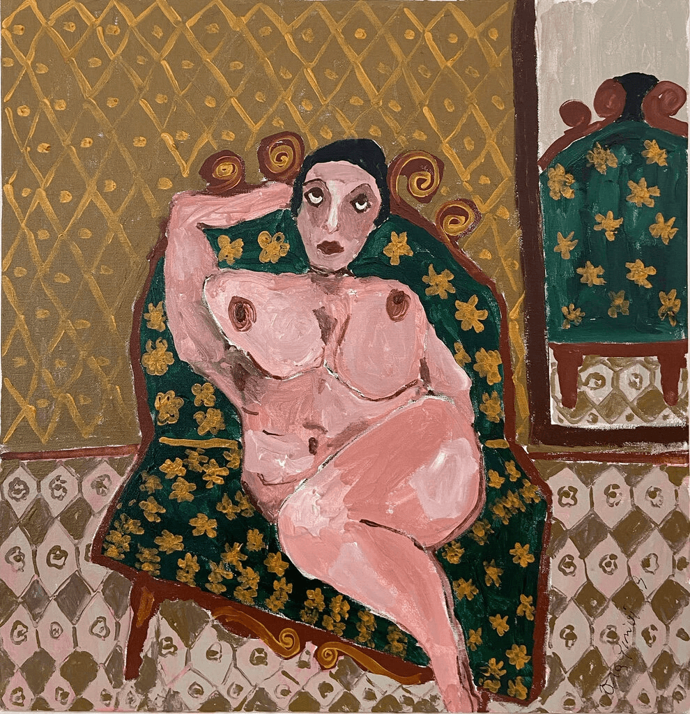 """Untitled Vera Girivi nude featured in the """"To Be Human"""" show at Hirschl & Adler Galleries, part of the Outsider Art Fair. Photo by James Barron Art."""