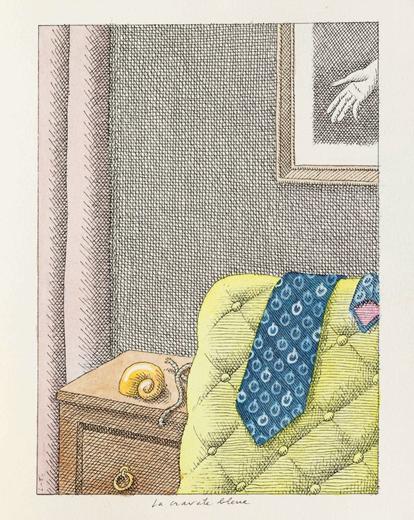 Pierre Le-Tan's La Cravate Bleue (est. €3,000-€4,000). Image from Sotheby's.