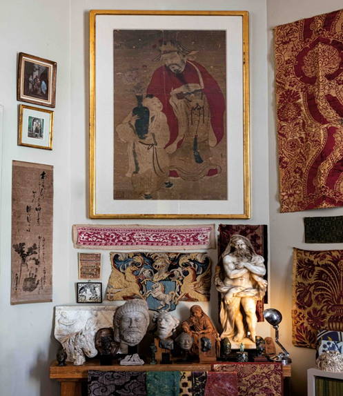 Le-Tan's Parisian apartment full of Asian and European art, fabrics, and antiquities. Image from Sotheby's.