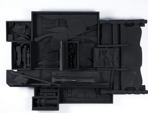Louise Nevelson, Am. 1899-1988, Moon Zag III 1984, Wooden Sculpture painted black