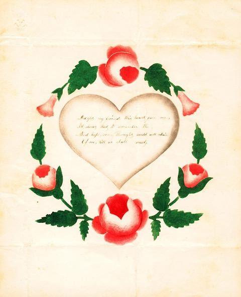 American theorem valentine circa 1825. Photo courtesy of Nancy Rosin.