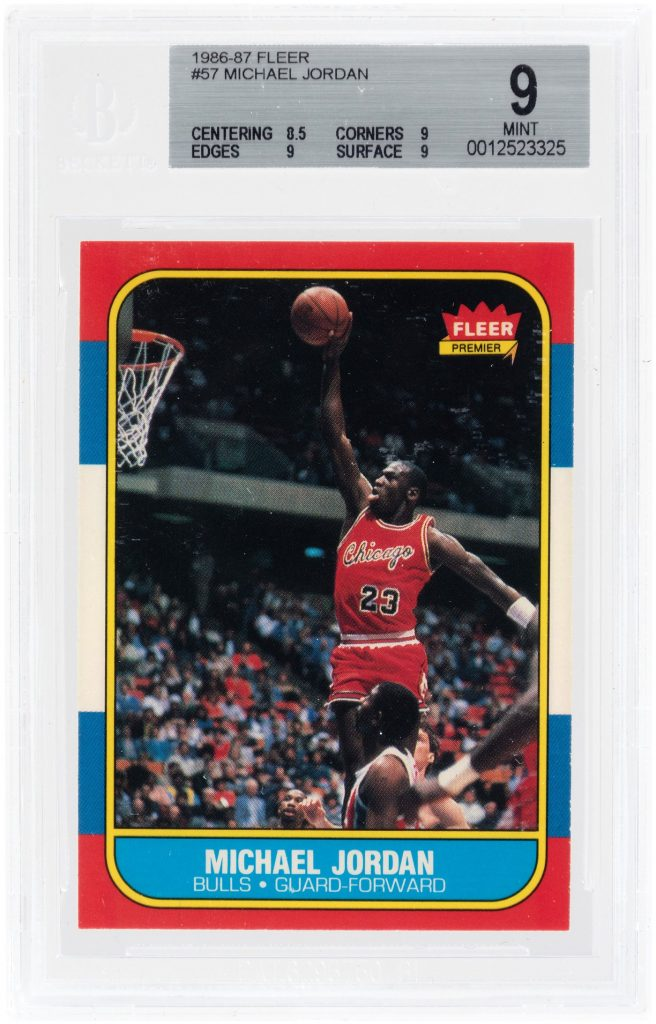 1986-'87 Fleer #57 Michael Jordan (HOF) rookie card, BGS-graded 9 Mint. Arguably the most iconic sports card of the modern era. Estimate $20,000-$35,000