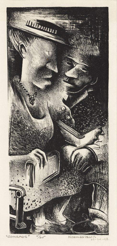 Norman Lewis, Comrades, lithograph, 1943. Estimate $5,000 to $7,000.