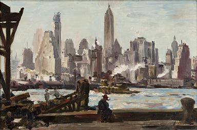 Reginald Marsh, The Waterfront, New York, oil on canvas, 1943. Estimate $10,000 to $15,000.