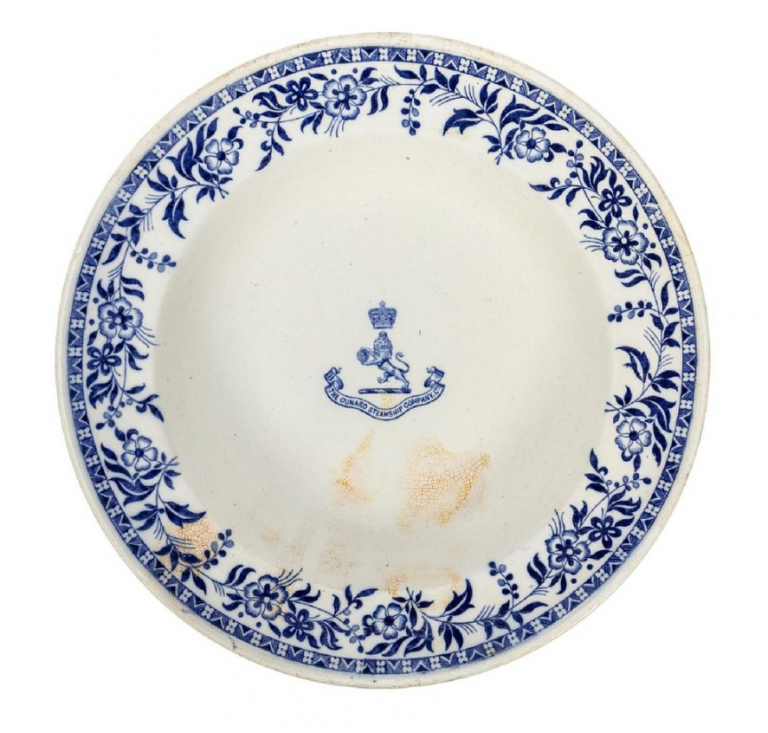 Salvaged first-class soup plate from the RMS Carpathia. Image from Ahlers & Ogletree.