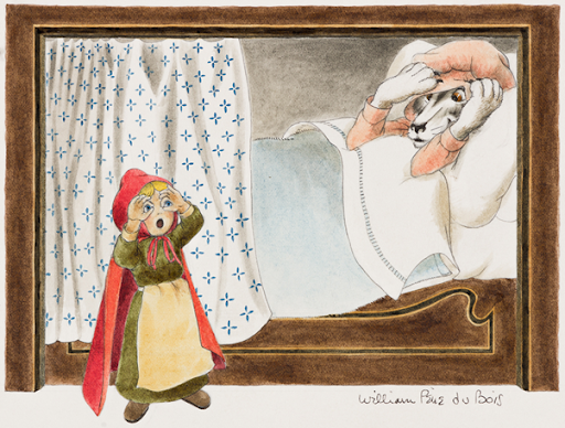 William Pène du Bois, Big Eyes…; Big Hands…; Big Teeth….; Little Red Riding Hood, pages 20-25, undated. Image from Swann Galleries.