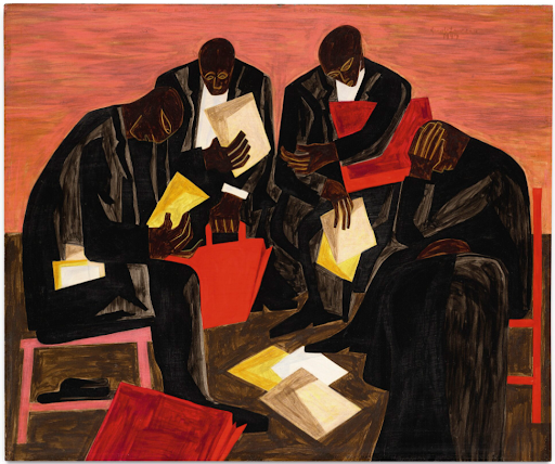Jacob Lawrence, The Businessmen, 1947. Image from Sotheby's.