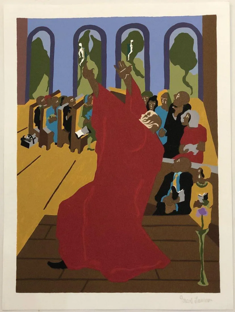 Jacob Lawrence, Moses, 1989. Image from Black River Auction.