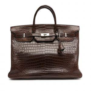 Hermès Havane Birkin 40cm in Matte Porosus Crocodile with Palladium Hardware, 2007