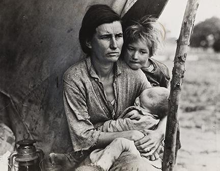Dorothea Lange, Migrant Mother (Horizontal), silver print, 1936. Sold for $63,750.
