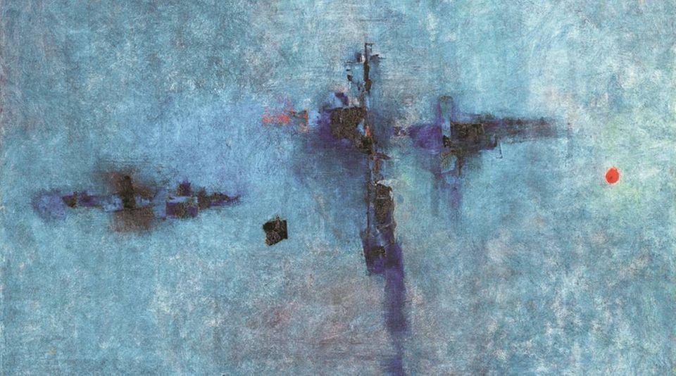 Vasudeo S. Gaitonde, Untitled, 1961. Image from Saffronart.