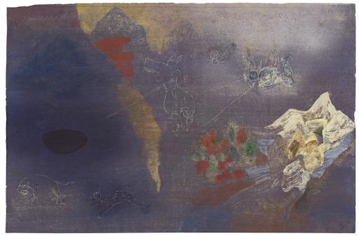 Nilima Sheikh, Untitled (Mountains and Mythological Figures), 2002. Image from Christie's.