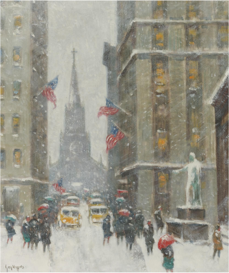 Guy Carleton Wiggins, Wall Street Winter. Image from Sotheby's.