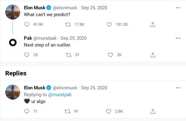 Screenshot of tweets between Elon Musk and Pak.