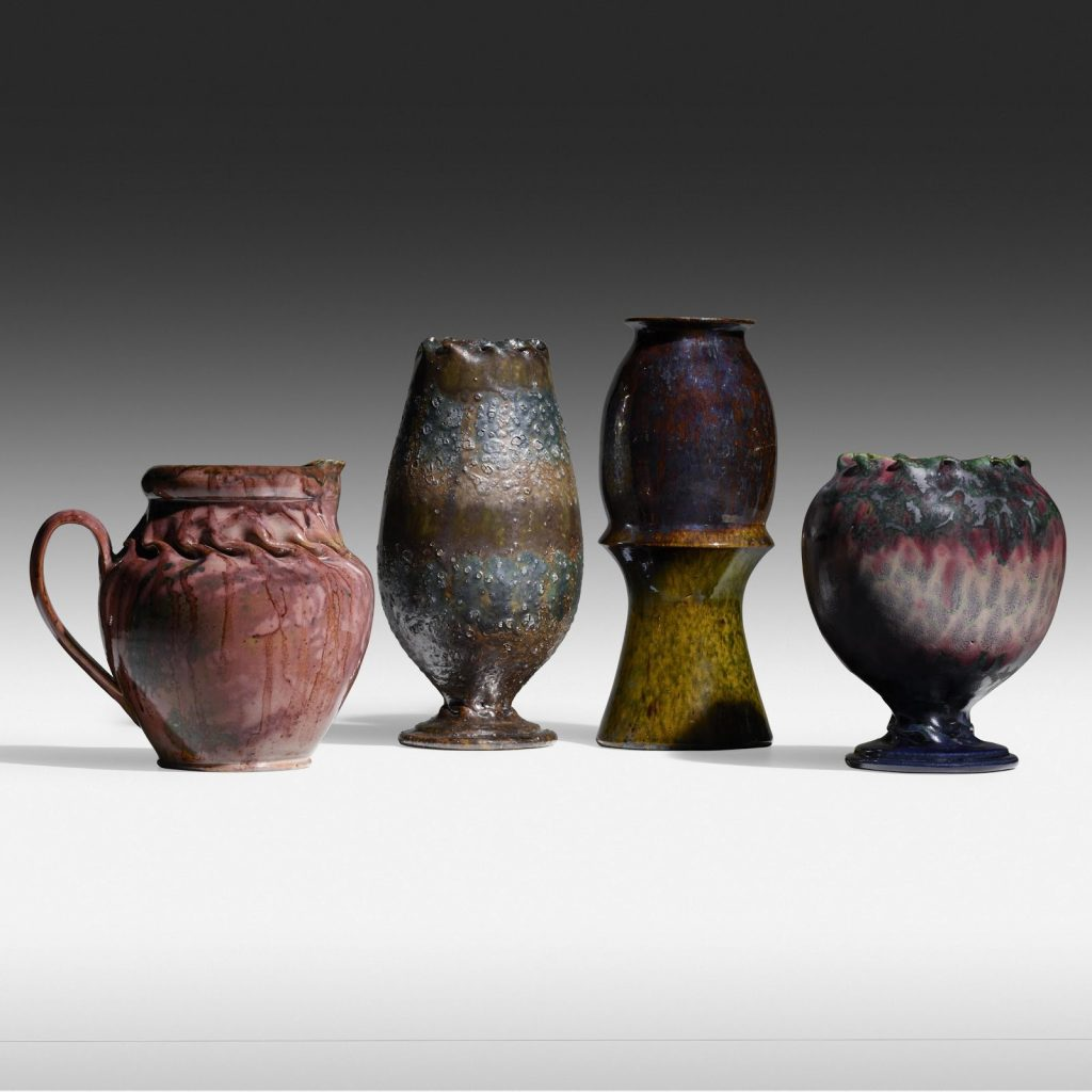 Collection of rare pottery by George E. Ohr. Photo courtesy of Rago Arts and Auction.