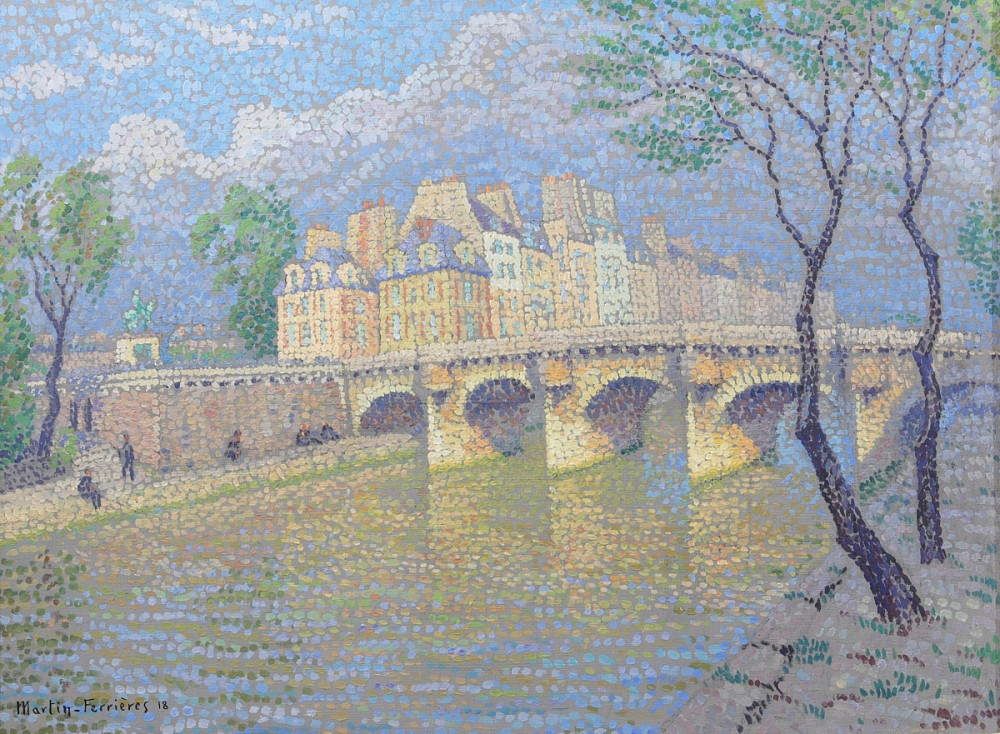 Oil on canvas painting by Jacques Martin-Ferrières (French, 1893-1972), titled Henri IV et le Pont Neuf (1918), 23 ¾ inches by 31 ¾ inches (est. $6,000-$8,000).