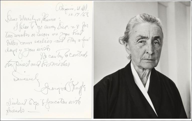 Left: Letter from Georgia O'Keeffe to Mym Tuma; image from Bonhams. Right: Georgia O'Keeffe portrait by Ralph Looney, 1966; image from the Georgia O'Keeffe Foundation/ ©️ Georgia O'Keeffe Museum.