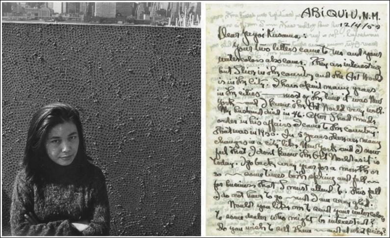 Left: Yayoi Kusama with an Infinity Net painting in 1961; image from Tate/ ©️ Yayoi Kusama. Right: A letter from Georgia O'Keeffe to Yayoi Kusama, 1955; image courtesy of Yayoi Kusama Studio Inc.