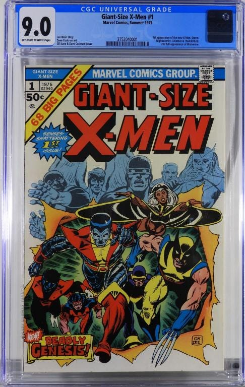 Marvel Comics Giant-Size X-Men #1 (Summer 1975), graded CGC 9.0, features the first appearance of Storm, Nightcrawler, Colossus and Thunderbird (est. 4,000-$6,000).