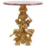 19th Cent. Satyr Gilt Bronze and Marble Table