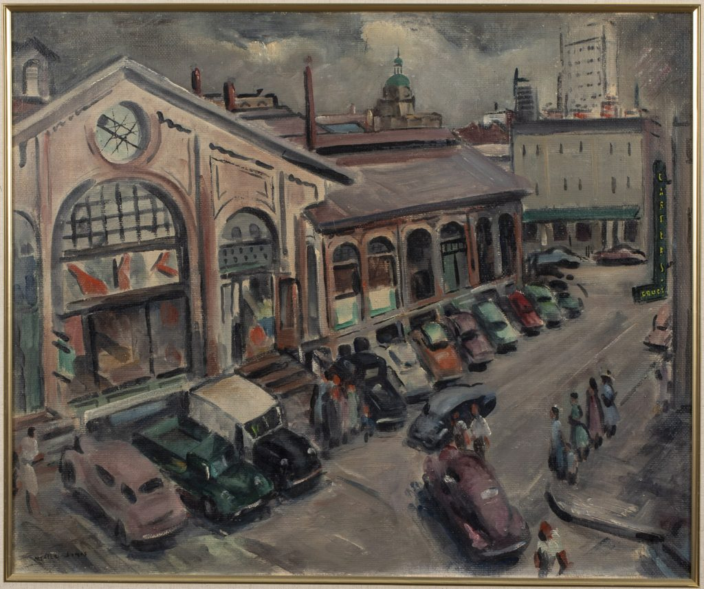 Myrtle Jones (Georgia, 1931-2005, 'Old City Market,' oil-on-Masonite, early 1950s, 19½ x 23½in (sight), signed lower left. Purchased directly from the artist. Estimate: $8,000-$12,000