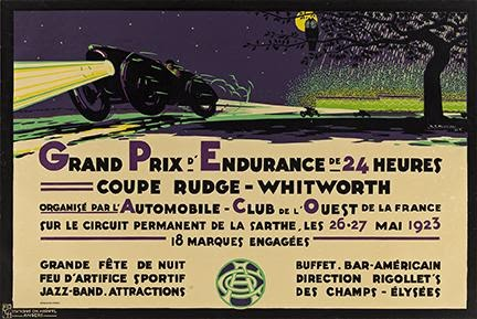 H.A. Volodimer, Grand Prix d'Enduranve de 24 Heurs / Coup Rudge – Whitworth, 1923. Sold for $15,000, a record for the artist.
