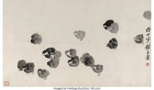 Qi Baishi, Chicks. Image from Heritage Auctions.