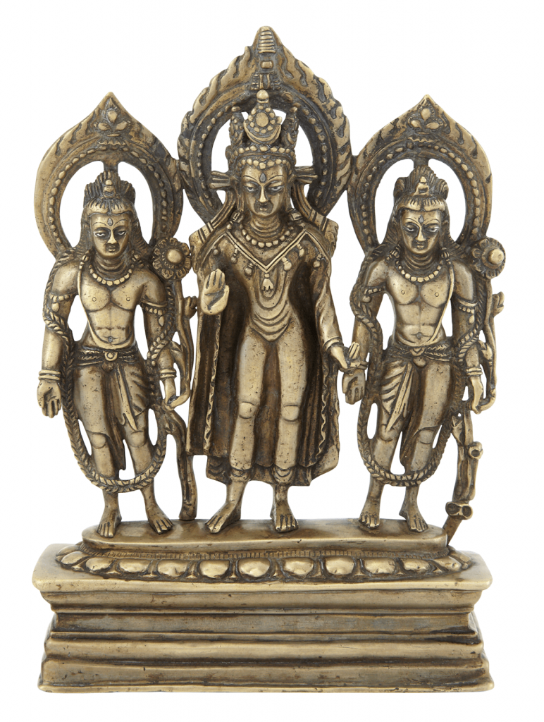 Northern Indian bronze Buddhist trinity, Pala period. Image from Doyle.