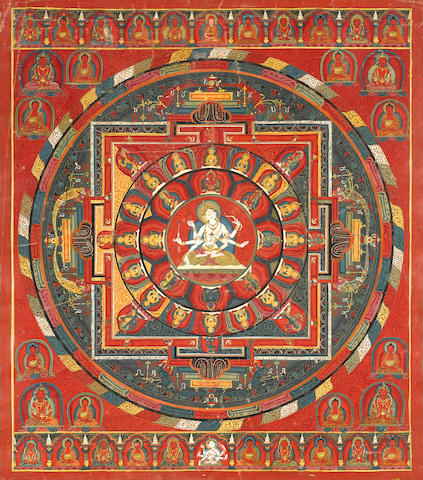 A 33-deity Ushnishavijaya mandala. Image from Bonhams.