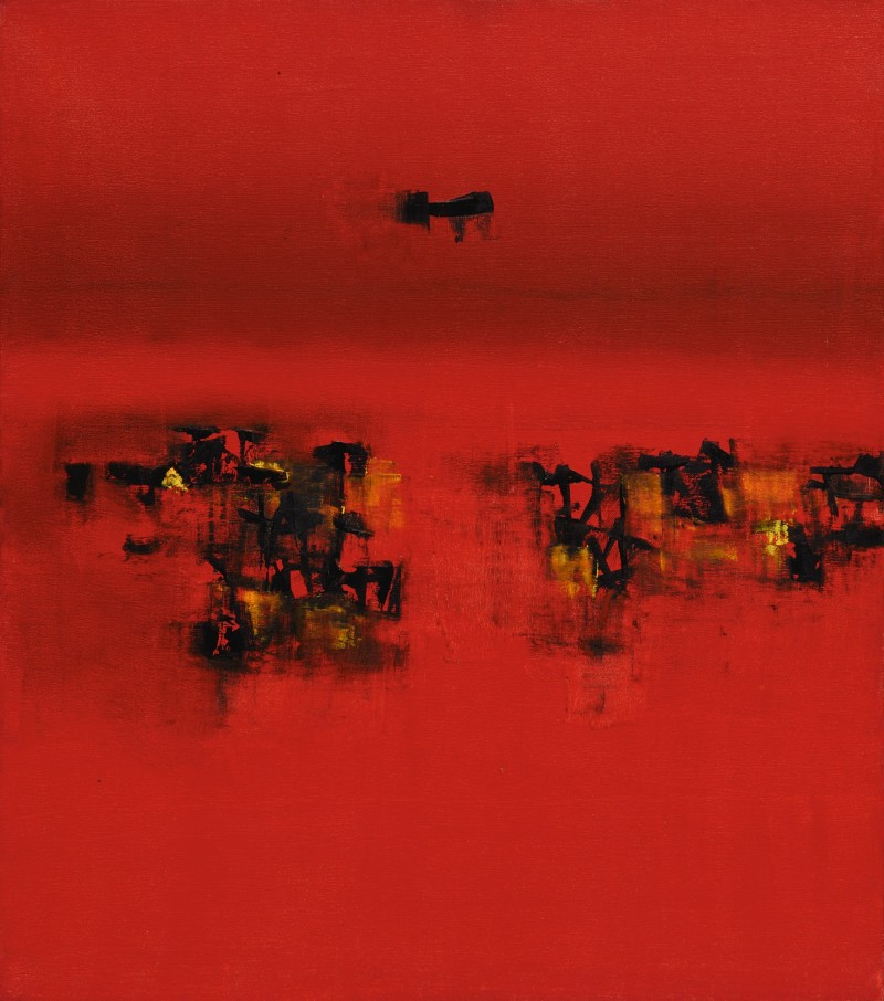 Vasudeo S. Gaitonde, Untitled, 1962. Image from Sotheby's.