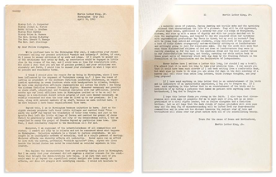 Dr. Martin Luther King, Jr., an early draft of the Letter from Birmingham Jail, 1963. Estimate $15,000 to $25,000.