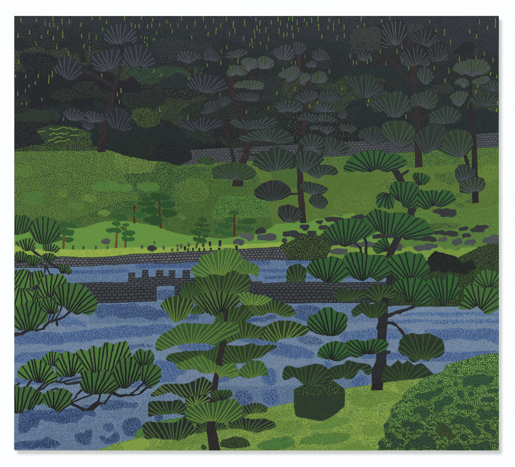 Christie's sold Jonas Wood's Japanese Garden 3 (2019) to benefit a tropical forest conservation project in 2019. Image from Christie's.