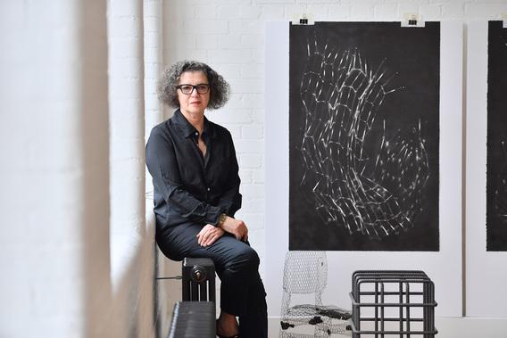 Mona Hatoum in her London studio, 2019. Image courtesy of The Japan Art Association / The Sankei Shimbun.