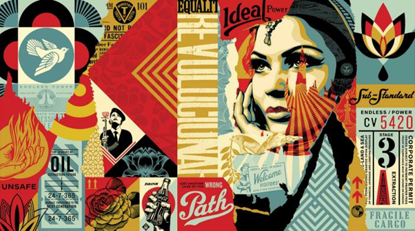 Shepard Fairey, Obey Ideal Power Mural, still image of NFT, 2021. Image from SuperRare.