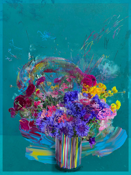 Petra Cortright, PC_Flower_Vase 001, still image of NFT, 2021. Image from SuperRare.