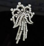 Mid Century Platinum Diamond Brooch Pin