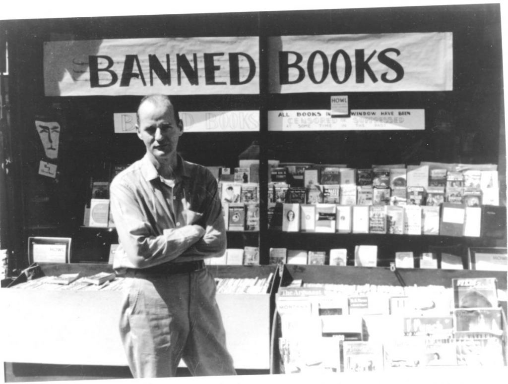 Lawrence Ferlinghetti outside City Lights. Photo from The Kitchen Sisters.