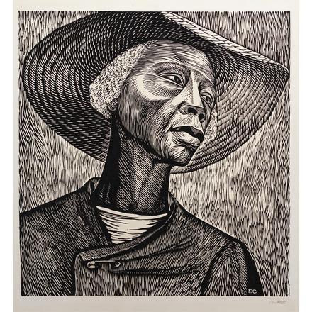 Elizabeth Catlett, Sharecropper, 1952. Image from Black Art Auction.