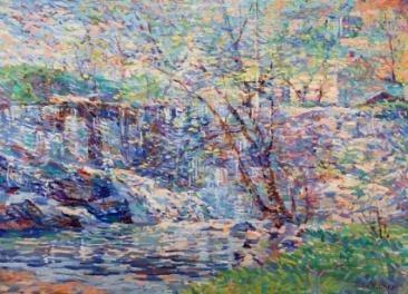 """John Pierce Barnes (American, PA 1893 - 1954), """"Waterfall""""; Oil on Board; 12.75"""" x 16.25"""", Signed """"John P Barnes"""""""