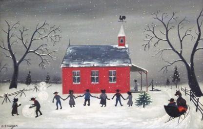 """David Ellinger (American, PA, 1913 - 2003), """"Amish School""""; Oil on Canvas; 18"""" x 28""""; Signed """"D. Ellinger"""""""