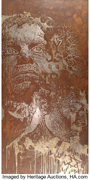 Vhils, Desensitized #2, 2012. Image from Heritage Auctions