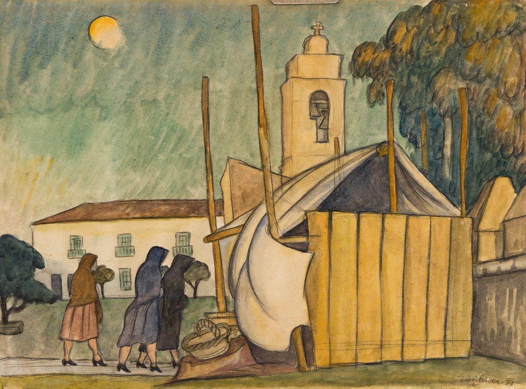 Diego Rivera, Mujeres dando limosna fuera de una Iglesia, watercolor, ink and pencil on paper, 1934. Estimate $25,000 to $35,000.