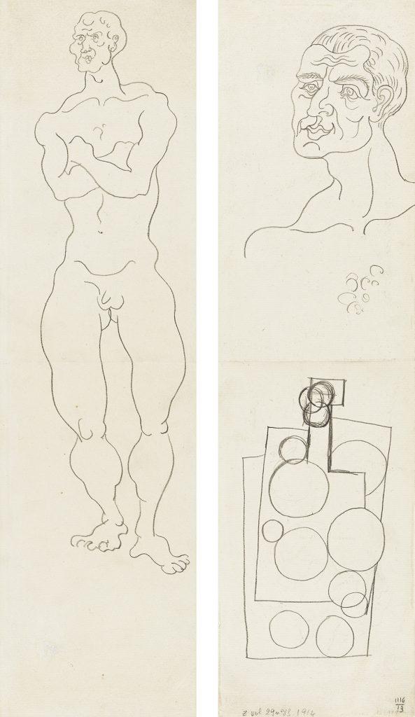 Pablo Picasso, Nu debout; Nature marte et Étude d'Homme, pencil on paper, double-sided, 1914. Estimate $60,000 to $90,000.